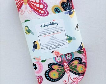 Cotton flannel baby wipes or wash cloths with mosaic butterflies, double layer, set of 6