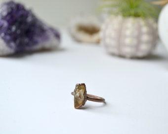 Citrine & Electroformed Copper Ring Size 8.5
