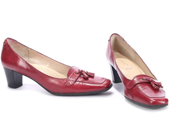 38 Vintage 8 US Fit Loafers EUR 80s Italy 8 UK Burgundy Flat 5 Shoes Shoes Chunky Loafers Heel Wide Heels 5 size 5 Tassel Red Leather Us Red ZFwHq55d