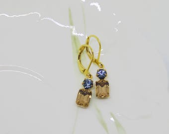 Vintage Light Colorado Topaz Octagon & Indian Sapphire Swarovski Earrings