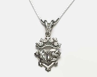 """Scottish Luckenbooth Heart with Thistle Sterling Silver Necklace 18"""" Box Chain"""