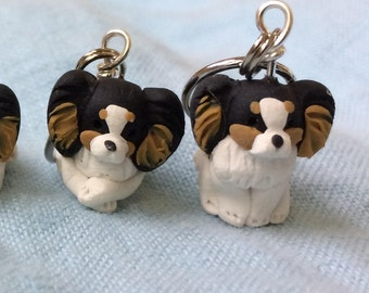Tri Colored Papillon Dog Polymer Clay Stitch Markers (set of 4)