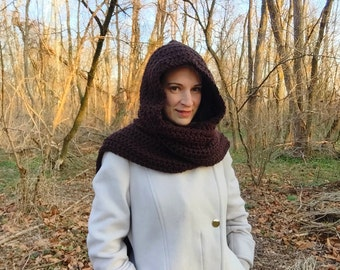 Crochet hooded scarf, brown crochet scarf, brown hooded scarf, chocolate scarf, brown scoodie, crochet scoodie, long scarf with hood
