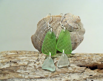 Fish Earrings Green Sea Glass Earrings Beach Glass Earrings Bohemian Earrings 925 Sterling Silver Sea Glass Jewelry Upcycled Earrings