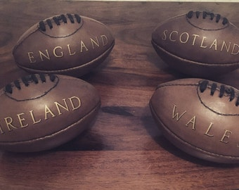 Mini Vintage style personalised leather American Football and Rugby ball