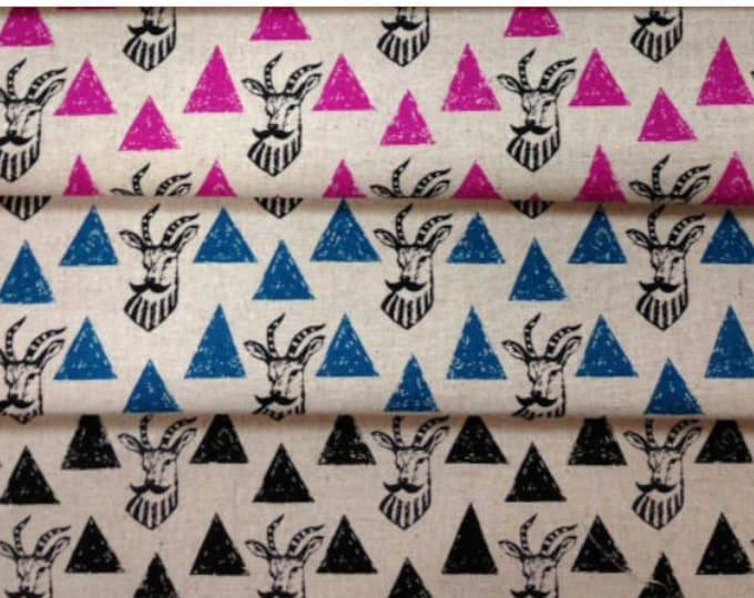 HALF yard bundle Echino Impala Triangles EF402 , Cotton Linen Fabric  Etsuko Furuya - in Pink, Blue & black, 3 pieces