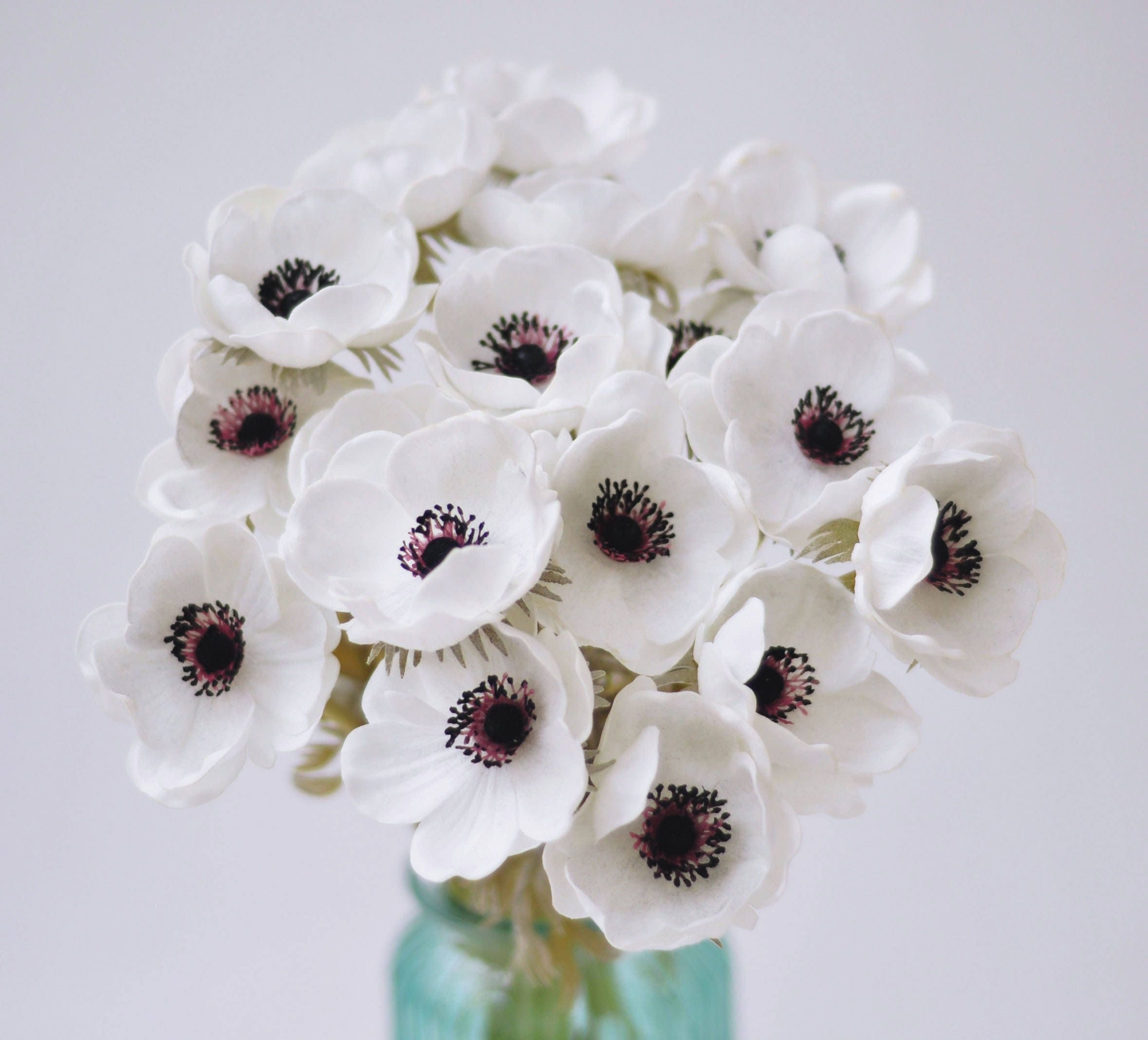 White Anemones Real Touch Flowers Burgundy Center For Wedding ...