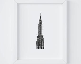 8x10 Chrysler Building Print | New York City | NYC | Line Drawing