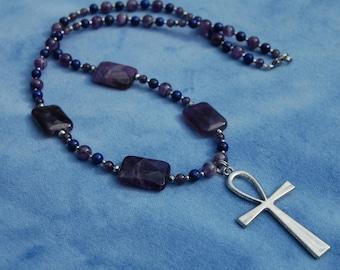 Amethyst Ankh Necklace - amethyst and lapis lazuli - ancient egypt - gemstone - key of life