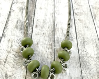 Olive green silver beads necklace, green silicone beads, industrial green necklace, long green necklace, nulika