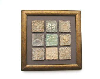 Ceramic Wall sculpture - Ceramic Wall Art – Small Ceramic Tiles Framed – Decorative Ceramics – Contemporary Patina Ceramics - Terracotta Art