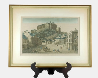 "Antique 18th Century ""Vue Du Chateau D'Edimbourg"" Perspective View Hand Colored Etching of Edinburgh Castle"