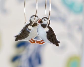 Atlantic Puffin Earrings, cute bird earrings