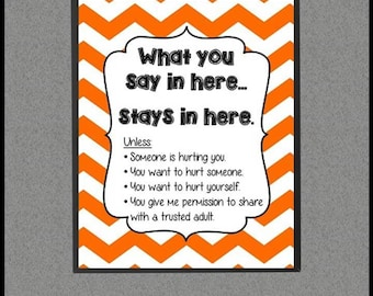 Orange Confidentiality Rules, Counseling Confidentiality Poster, School Counselor Decor, Counseling Office Decor, School Counselor Sign