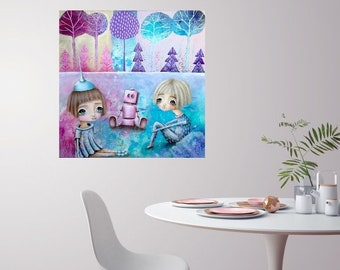 They share a vision (Original Painting) Girls with robot - Healing Art for Children - 60x60x4cm