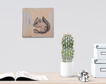 Squirrel wood wall art - Black and white print on wood, Pink squirrel wall decor, Dorm decor, Wood signs, Shabby chic, Kids room decor
