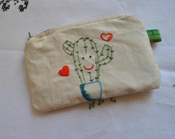 succulent, cactus, embroidered succulent, needlework, embroidered purse, succulent purse, cactus fabric, cactus art, cactus lover gift idea