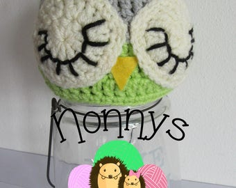 Crochet Owl Hat, size 0-3 Months, Ready to Post