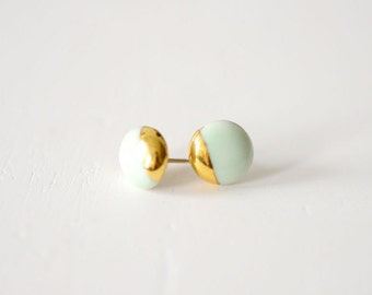 22k Gold Dipped Studs - Mint Stud Earrings, Wedding Jewelry, 14k gold filled posts, Bridesmaids Gift, Porcelain and Stone