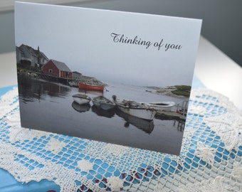 Artisan Note Cards, Photo Card, Greeting Card, Stationary, Seascape PhotoCard, Fishing Village ,Thinking of You Card, Peggy's Cove, NS, Gift