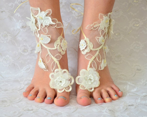 Barefoot Sandals Wedding Shoes Ivory, beach wedding shoes, wedding lace shoes, bridesmade gift, beach shoes, MarrietDress 05