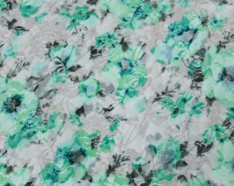 Green Taupe White Stretch Printed Lace Fabric Style 6730