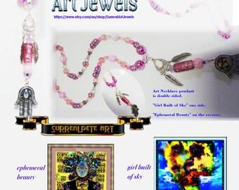 Art Jewel Necklace Handmade Jewelry Gifts - JustOneMoreGirl ref# JOMG 1