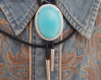 Handcrafted in the UK Turquoise Colour Bolo Bootlace Tie Silver Metal surround and Tips Western Cowboy Ladies Mens Goth Wedding Rockabilly
