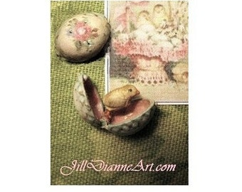 Tiny Mechanical Toy - antique style Painted Rose Egg, opens to Baby Chick  - Dollhouse Miniature