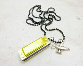Harmonica, Necklace Initial Monogram Necklace, Personalized Custom