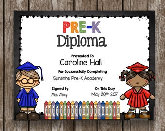 50% OFF SALE - Pre-K Diploma - Graduation - Printable - INSTANT Download - Chalkboard - Classroom - Teacher