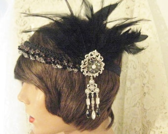 Flapper headpiece 1920's headband inspired headband Black feather headpiece black headband sterling silver ox fascinator flapper headband r