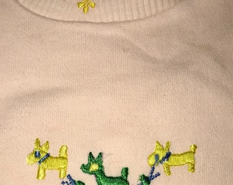 1960's baby tee with puppies Vintage pastel dog puppy toddler top 60's pastels infant shirt