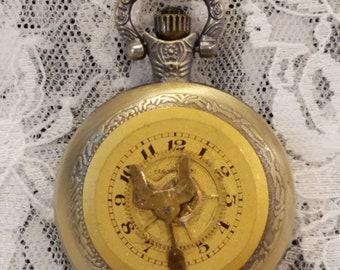 Ladies Steampunk Pocket Watch on Long Chain Goldtone