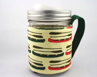 ReFluff, mason jar sleeve, mason jar cozy, eco friendly, canoe, camping, woods, canada ,eco gift, cuppow, starbucks, summer camp, paddle,