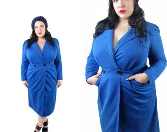 Plus Size Dress / Size XL / Vintage 1980's Cobalt Blue Wrap Dress / Vintage Dress