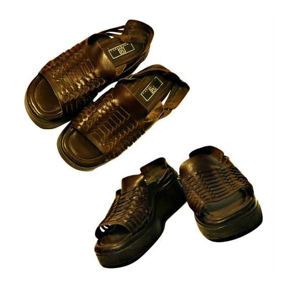 hippie platform ladies sandals sandals shoes leather women's shoes sandals 8 shoes huaraches Women's bohemian platforms festival p8ngxBU