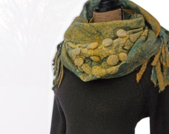 Nuno Felted Scarf Green Moss and Yellow; OOAK; Eco-Fashion; Art to Wear;Wool Stole