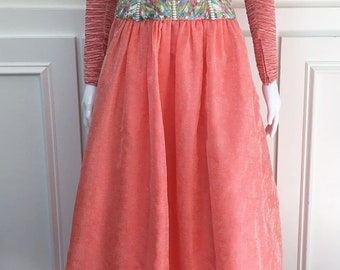 """1970s/1980s Mary McFadden Couture Peachy Pink Gown with """"Marii"""" Pleated Bodice--Size US 6   (10272CL"""