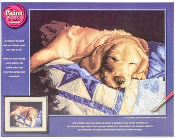 PAINTWORKS Dimensions Paint by Number Kit AFTERNOON NAP Dog 14 x 11 inches