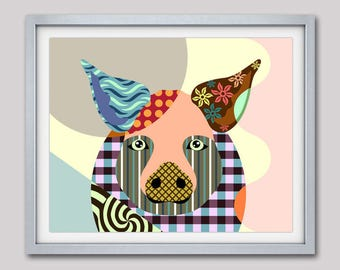 Pig Art Print , Pig Painting, Pig Poster, Pig Decor, Pig Art, Pig Gifts, Farm Animal, Farm Art Animal Art Print, Animal Decor