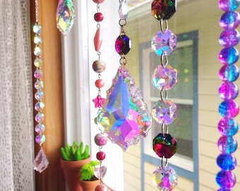 Set of 10 custom AB crystal sun catcher window hangings/you choose colors/chandelier prisms/suncatcher/beads/boho home decor/gypsy/bohemian