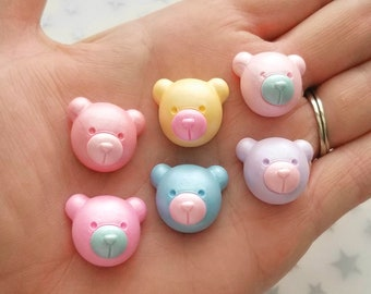 21mm teddy bear cabochon flatback mixed colors jewelry embellishment scrapbooking hair accessories decoden phone case embellishment *5pcs*