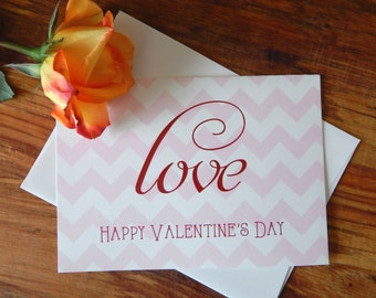 Chevron Valentine's Day Card  |  Cute Valentine's Day Card