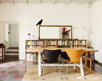 "Crow Wall Decal, Bird Wall Sticker, Home Decor (12"" x 11"")"