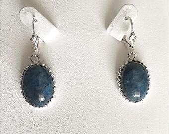 Sterling Silver Vintage Inspired Blue Apatite Earrings