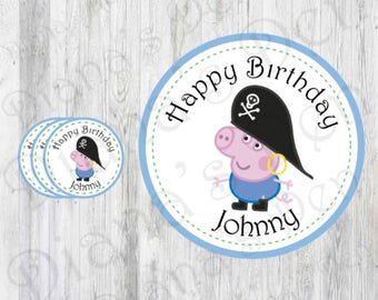 Pirate George Pig Stickers/George Pig Stickers/George Pig Tags/George Pig Labels/George Pig Party/George Pig Birthday/Pirate Stickers/