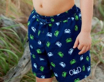 Monogrammed Swim Trunks Boys Toddler Shorts Swimsuit Kids Bathing Suit Crab