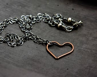 Copper Heart Charm Necklace, Oxidized Sterling Silver Chain, Modern Love