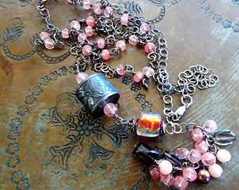 SALE Hanami Necklace Anne Choi and Basha Bead Ruby Series Sterling Silver Cherry Blossom Sakura